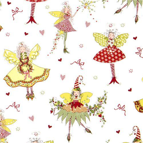 white pixies and fairies Christmas fabric by Michael Miller