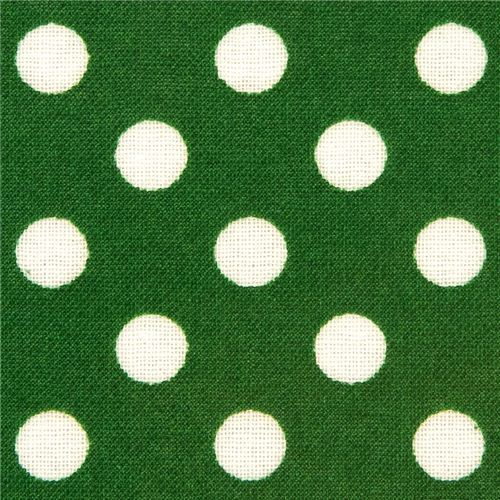 green polka dot laminate fabric by Cosmo from Japan