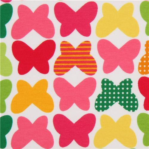 Robert Kaufman knit fabric with butterflies pink-yellow