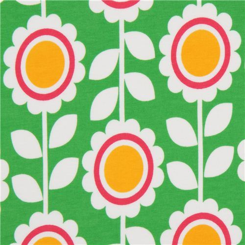 green Robert Kaufman knit fabric with flowers Laguna