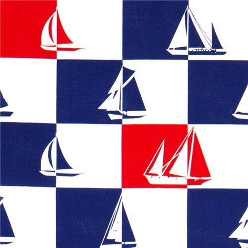 blue-white-red checkered sailor fabric Timeless Treasures