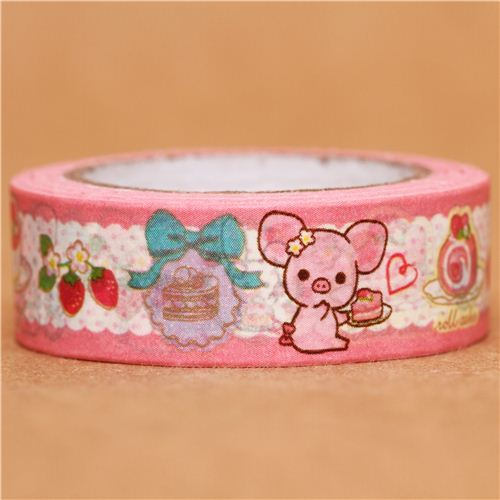 pink Piggy Girl pig lace Washi Masking Tape