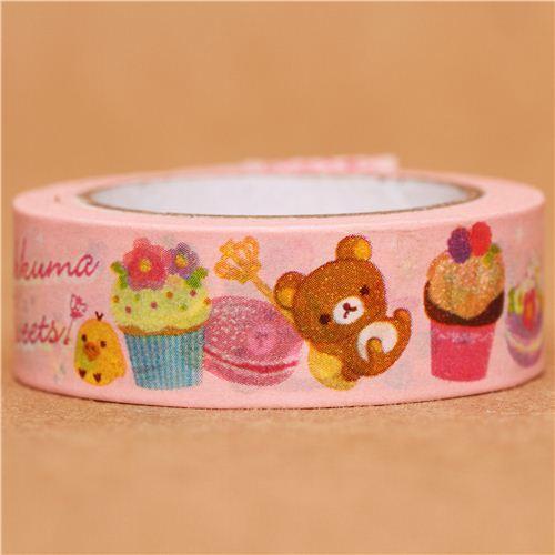 pink Rilakkuma bear sweets Washi Masking Tape deco tape