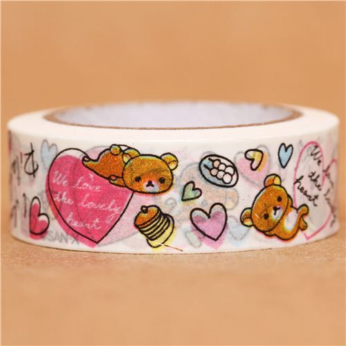 white I love Rilakkuma heart Washi Masking Tape deco tape
