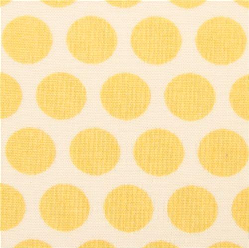 ecru birch organic fabric from the USA yellow dots