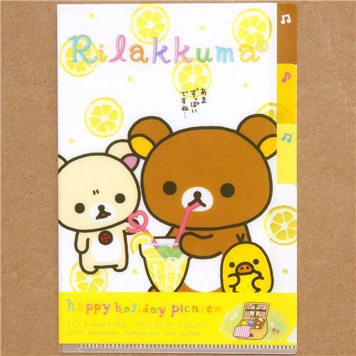 Rilakkuma small plastic folder 3-pocket picnic lemonade