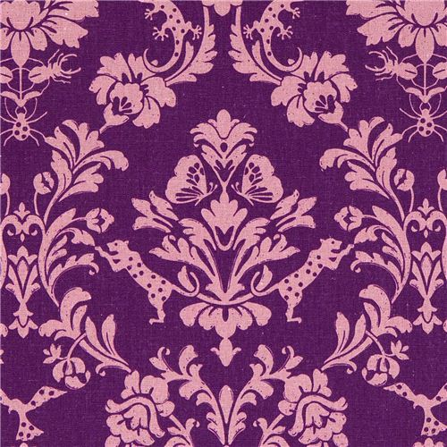 purple echino canvas fabric Gothic leopard & ornament
