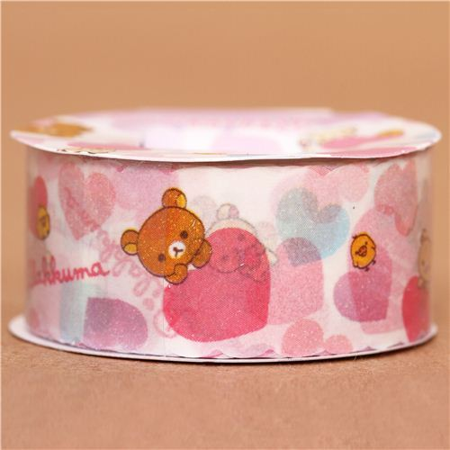 Rilakkuma bear with hearts Masking Tape deco tape San-X