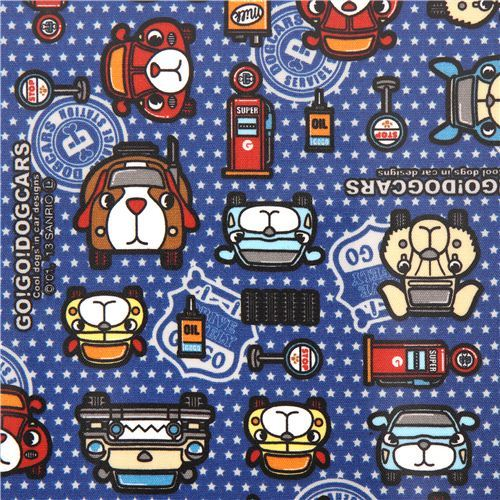 blue star car dog Sanrio laminate fabric from Japan