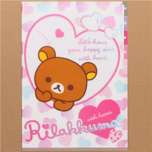 Rilakkuma bear hearts A4 plastic file folder 5-pocket
