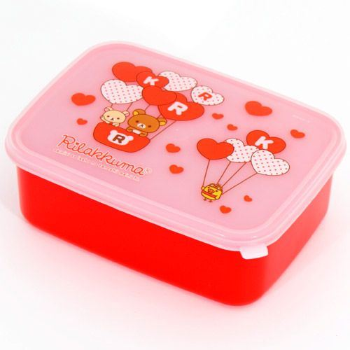 red Rilakkuma Bento Box Lunch Box bears with hearts