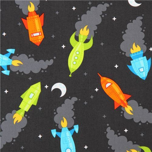 charcoal grey rocket spaceship fabric 'Spaced Out' Robert Kaufman