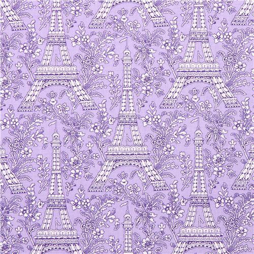 purple Paris Eiffel Tower flower fabric Michael Miller Petite Paris