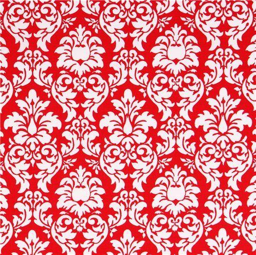 red Petite Dandy Damask ornament fabric Michael Miller Petite Paris