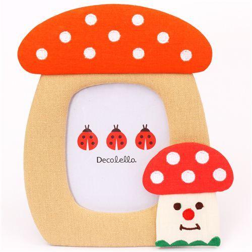 cute mushroom fabric photo frame picture frame Japan Decole