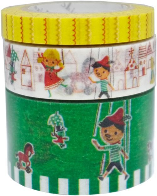 Pinocchio house toy Washi Masking Tape deco tape set 3pcs Shinzi Katoh