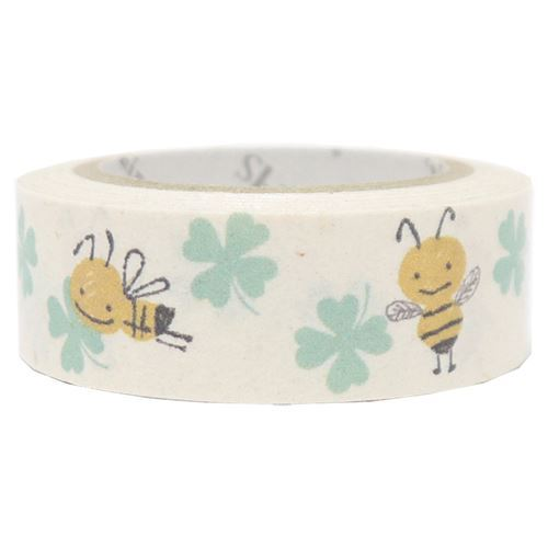 white cute bee clover Washi Masking Tape deco tape