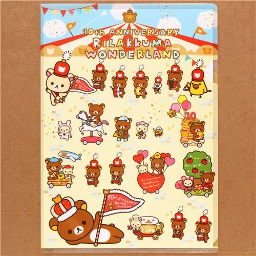 cute Rilakkuma Wonderland bear parade A4 plastic file folder