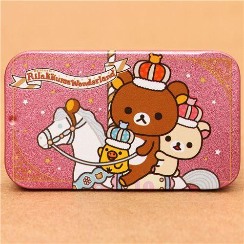 pink Rilakkuma Wonderland tin case pill box bear horse crown