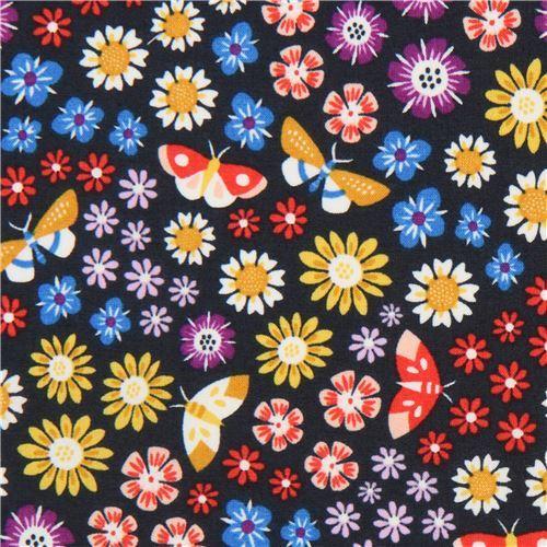 dark blue-grey colorful flower Cloud 9 organic cotton fabric Bohemian Garden