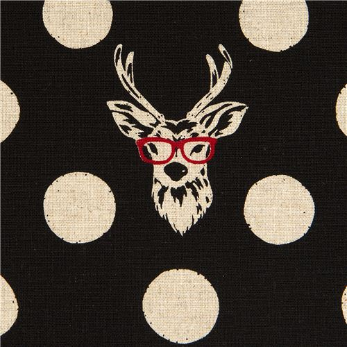 echino laminate fabric Buck stag deer with glasses black