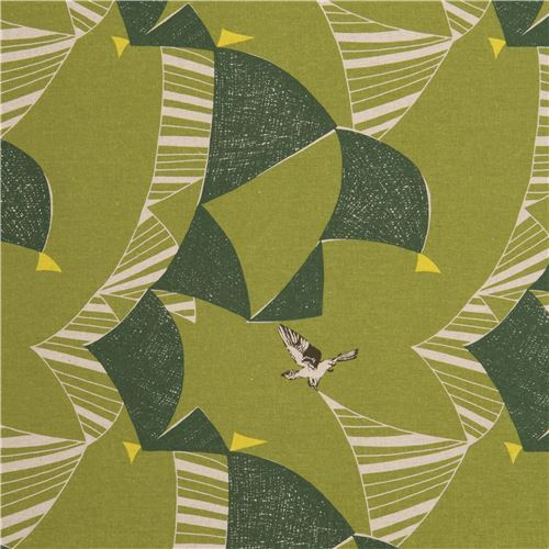 echino moss green canvas laminate fabric green triangle bird from Japan
