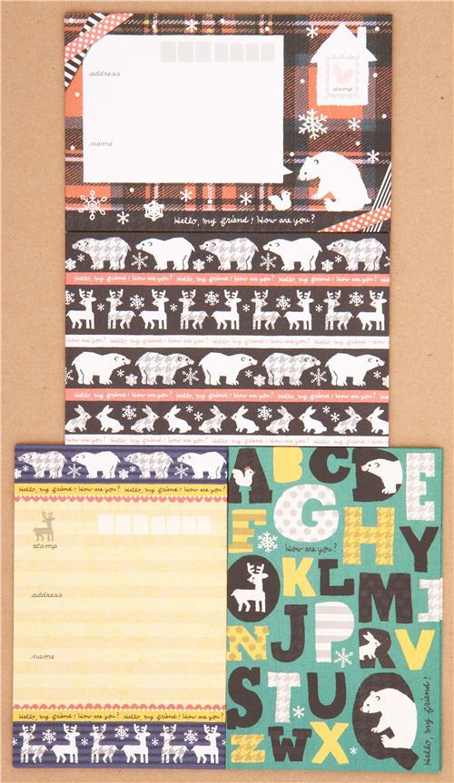 polar bear reindeer Christmas Letter Set by Kamio