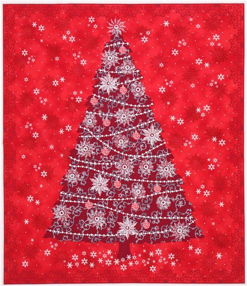 red Christmas tree panel Christmas fabric Quilting Treasures
