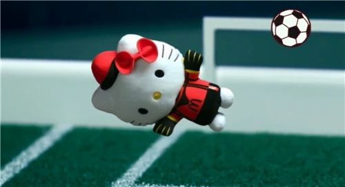 The collection contains several soccer-themed Hello Kitty plushs