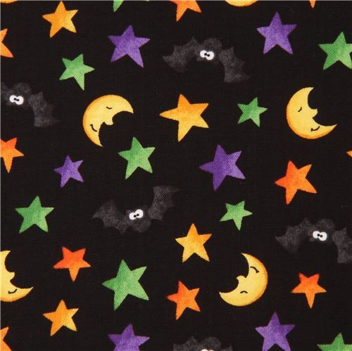 black cute bat moon colorful star fabric Happy Haunting