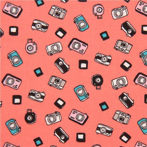 salmon pink cute small camera Lawn fabric