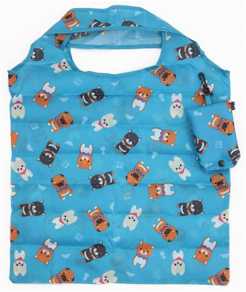 cute blue polyester shopping bag with dog from Japan