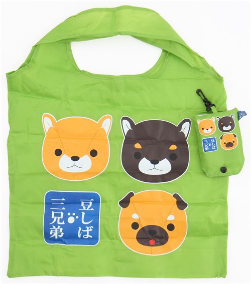 cute green polyester shopping bag with dog from Japan