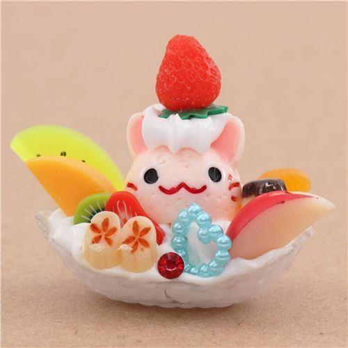 light pink cat face ice cream white cream fruit dessert figure from Japan