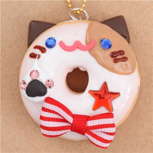 white icing cat face red bow donut dessert figure from Japan