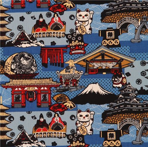 blue Asia mountain lucky cat shrine gold metallic embellishment fabric