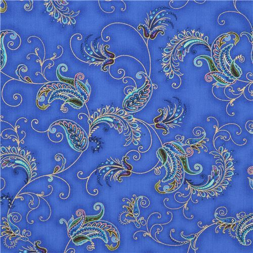 dark blue fabric Paisley colorful flower gold metallic by Timeless Treasures