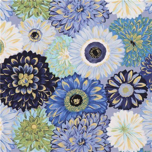blue green white flower fabric gold metallic embellishment by Michael Miller