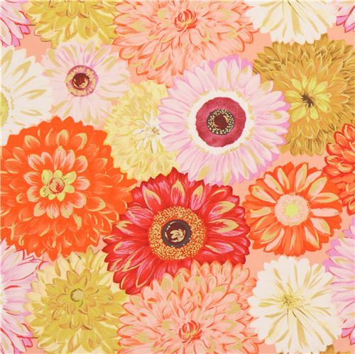 orange coral pink flower fabric gold metallic embellishment by Michael Miller