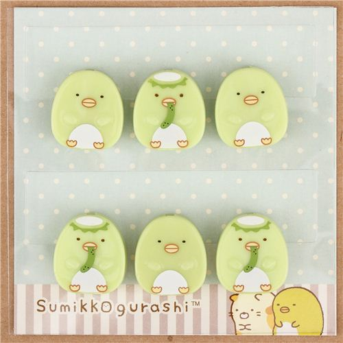Sumikkogurashi shy green penguin clip peg set 6 pcs