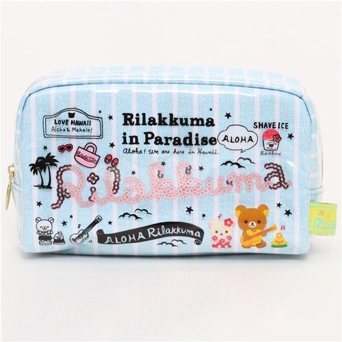 blue Aloha Rilakkuma bear Hawaii pouch from San-X