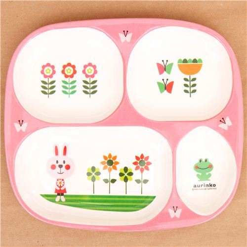 pink rabbit plate bento dish kids plate food tray