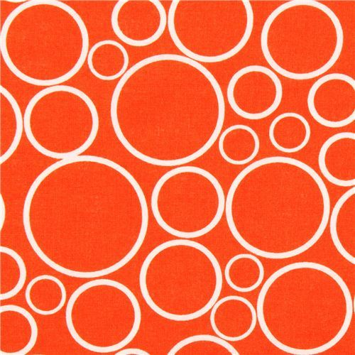 super wide orange circle fabric Robert Kaufman USA