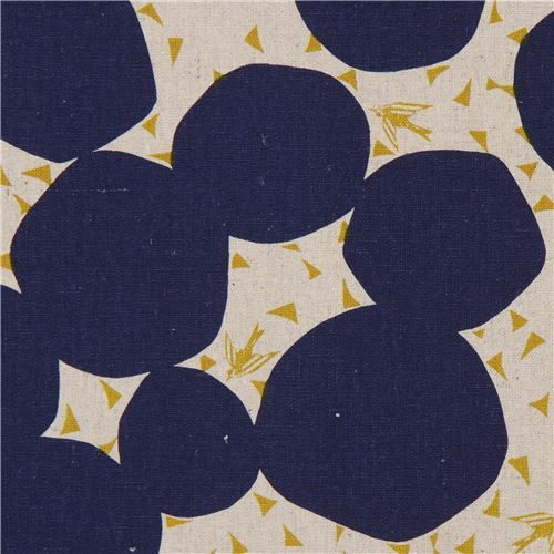 natural color echino canvas fabric with dark blue circle shape Bubble