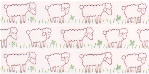 white sheep cloverleaf Washi Masking Tape deco tape Shinzi Katoh Japan