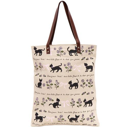 cute beige handbag with cats and roses from Japan