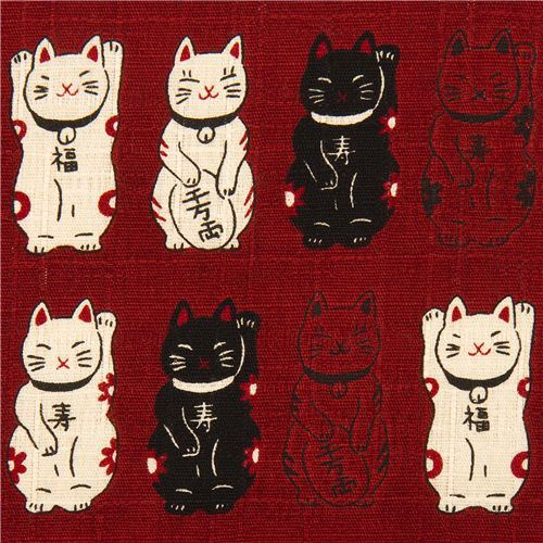dark red structured Lucky Cats fabric from Japan