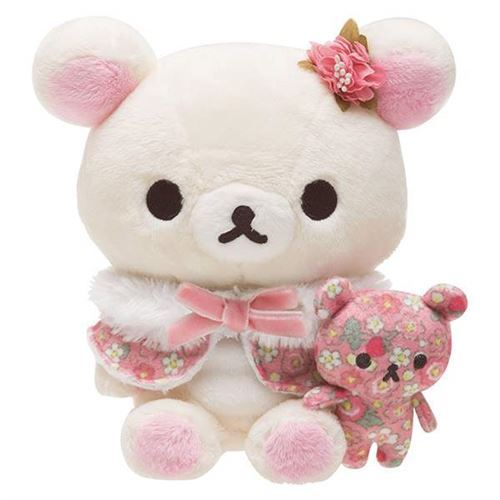 cute Rilakkuma teddy bear with pink wrap flower toy