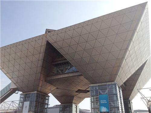 The very futuristic exhibition centre in Tokyo
