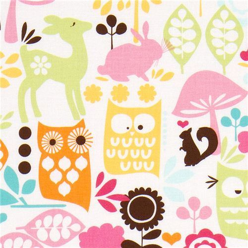 Michael Miller fabric forest life with owl deer rabbit